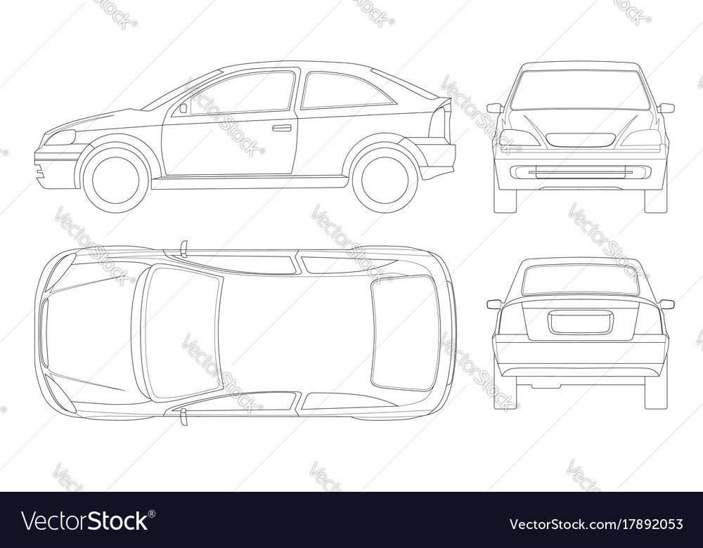 Sedan car in lines isolated car template for car