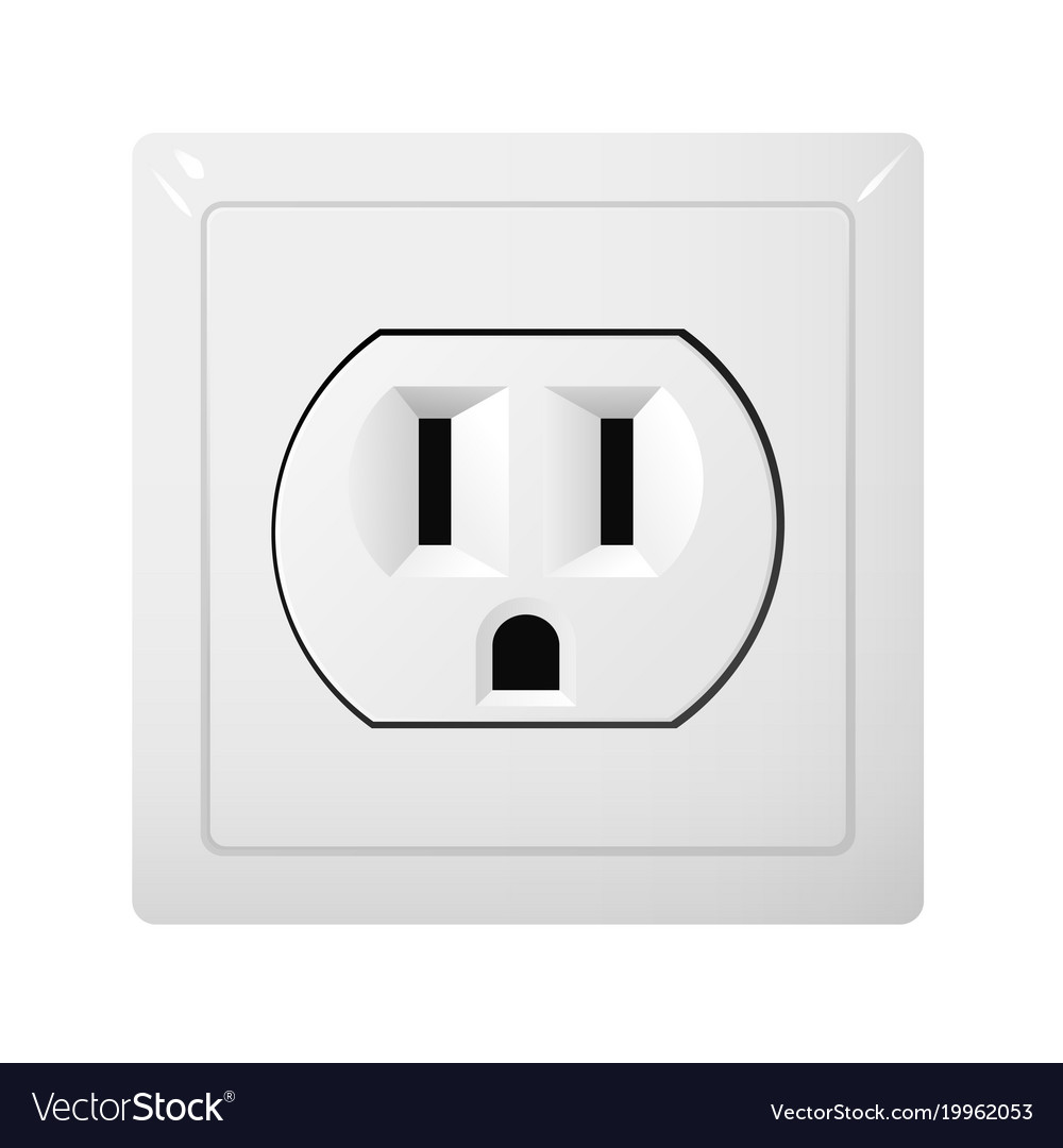 Single electrical socket type b receptacle from Vector Image