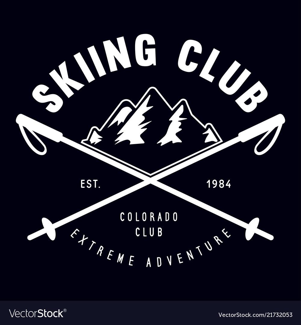 Vintage ski or winter sports logo badge emblem