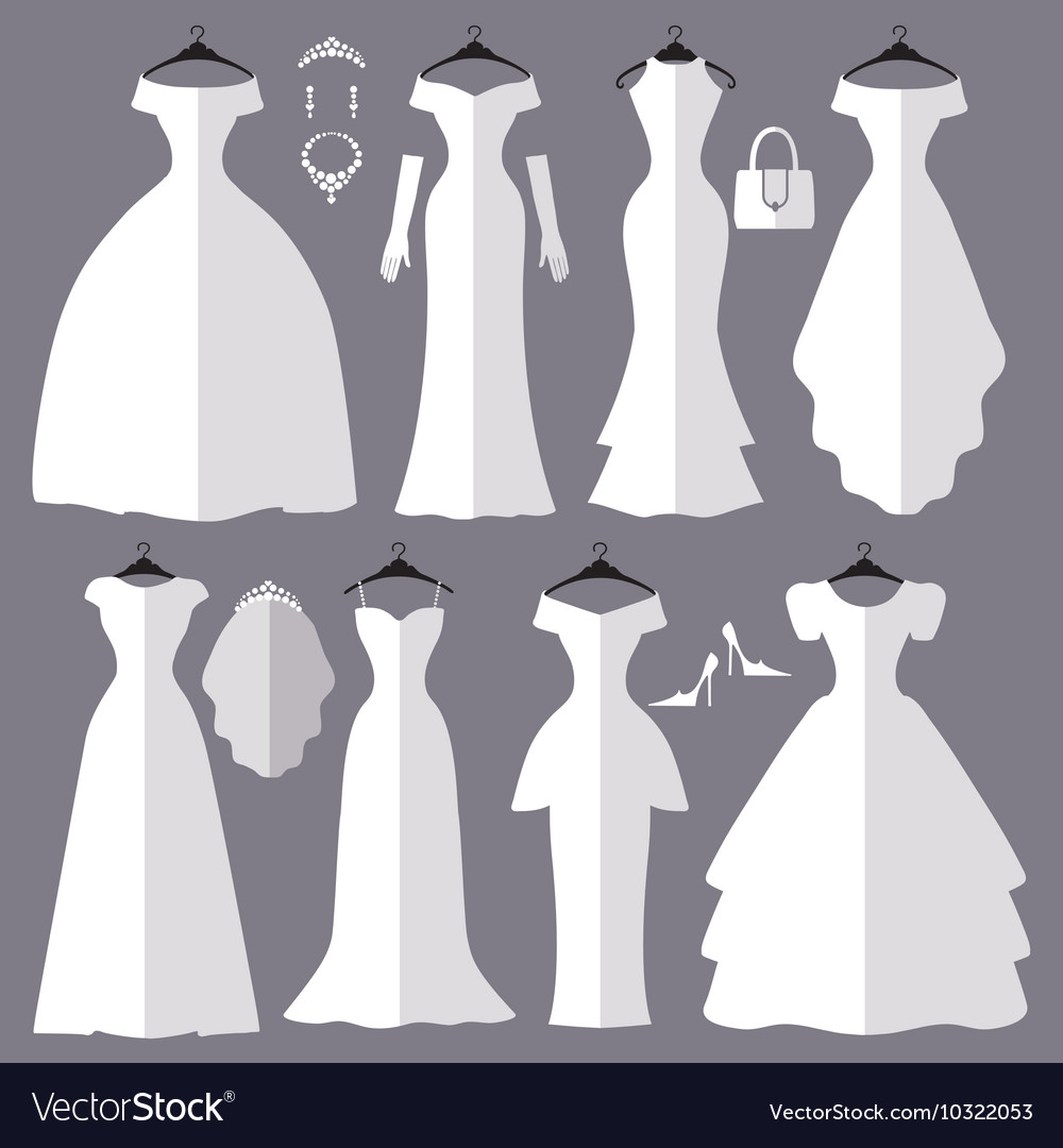 Wedding dresses silhouette setFashion flat Vector Image