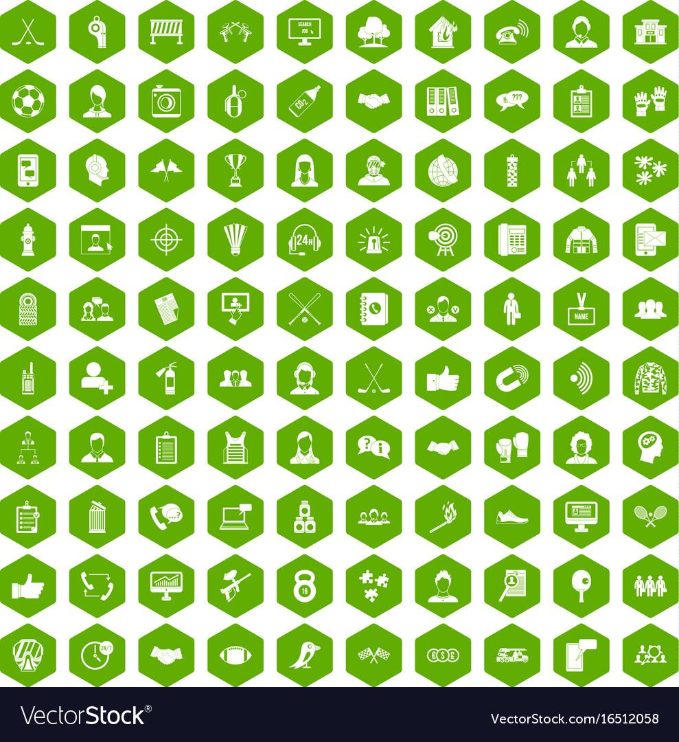 100 team icons hexagon green vector image