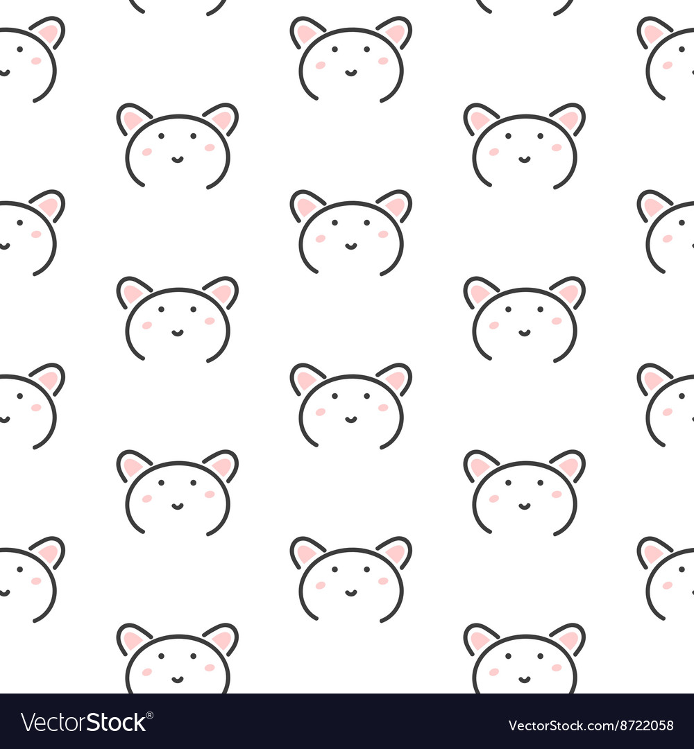 Bear stylized line fun seamless pattern for kids vector image