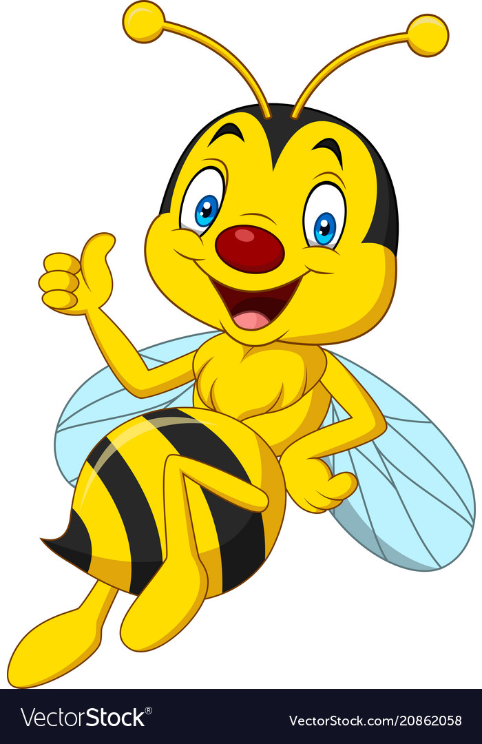 Cartoon happy bee giving thumbs up