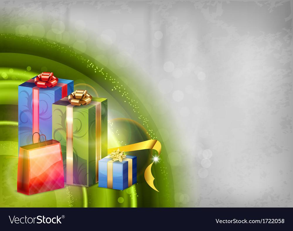 Christmas background green light corner round vector image