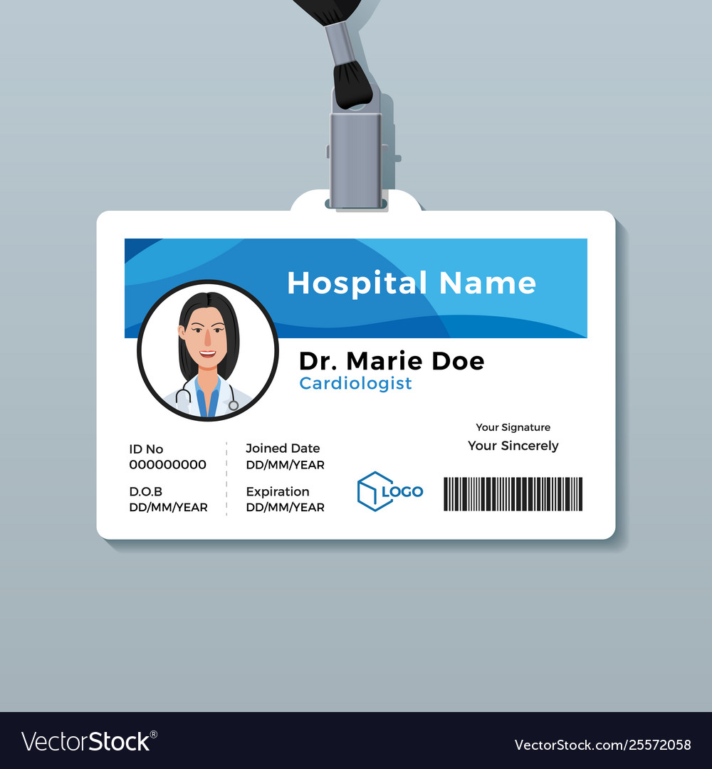 Doctor Id Card Medical Identity Badge Template Vector Image