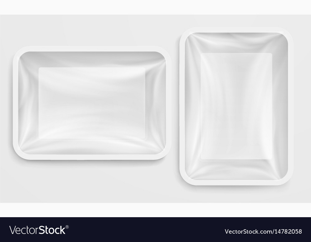 Empty white plastic box food container