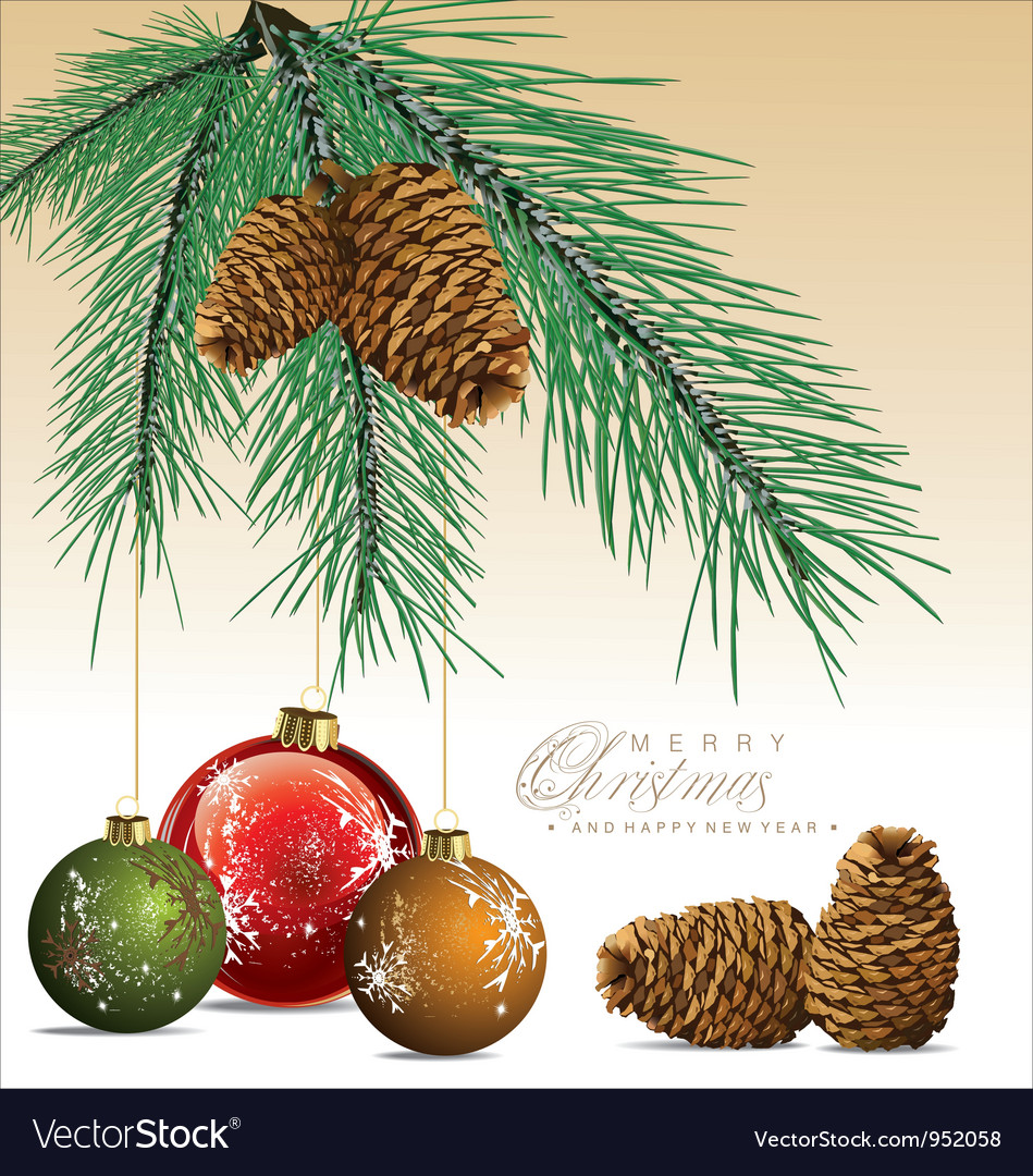 Fir tree with pine cones background