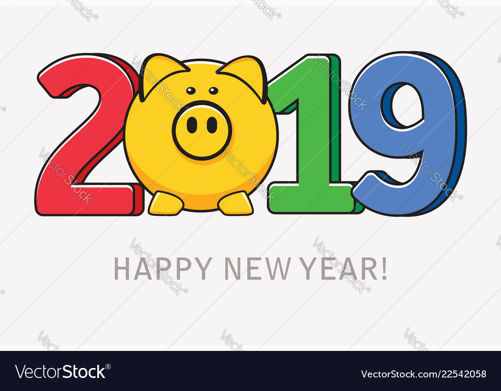 Happy new year card with pig symbol