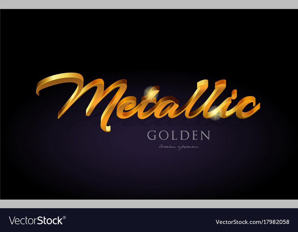 Metallic gold golden text word on purple