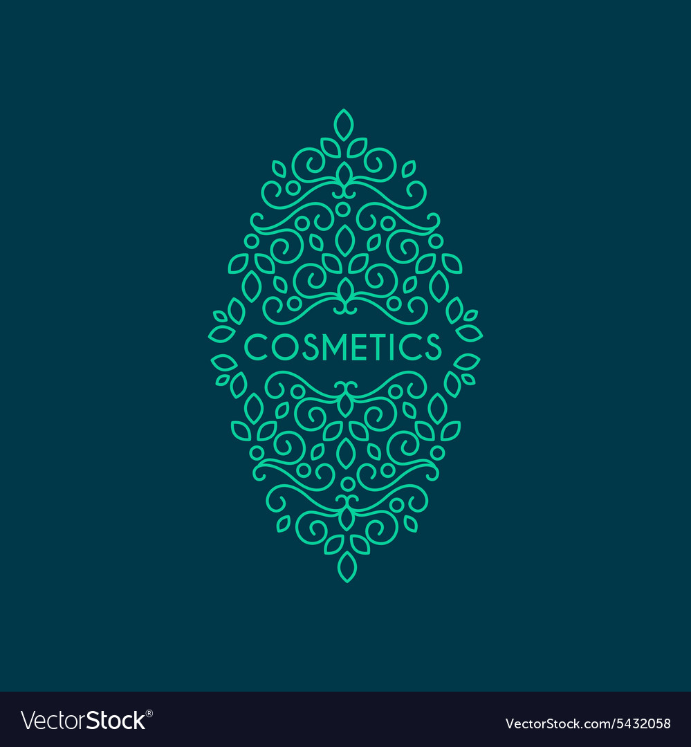 Monogram cosmetocs classic calligraphic isolated vector image
