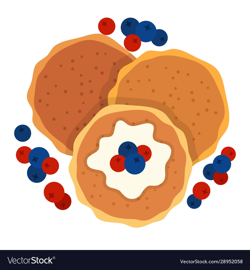 Pancakes with berries and sauce icon flat isolated