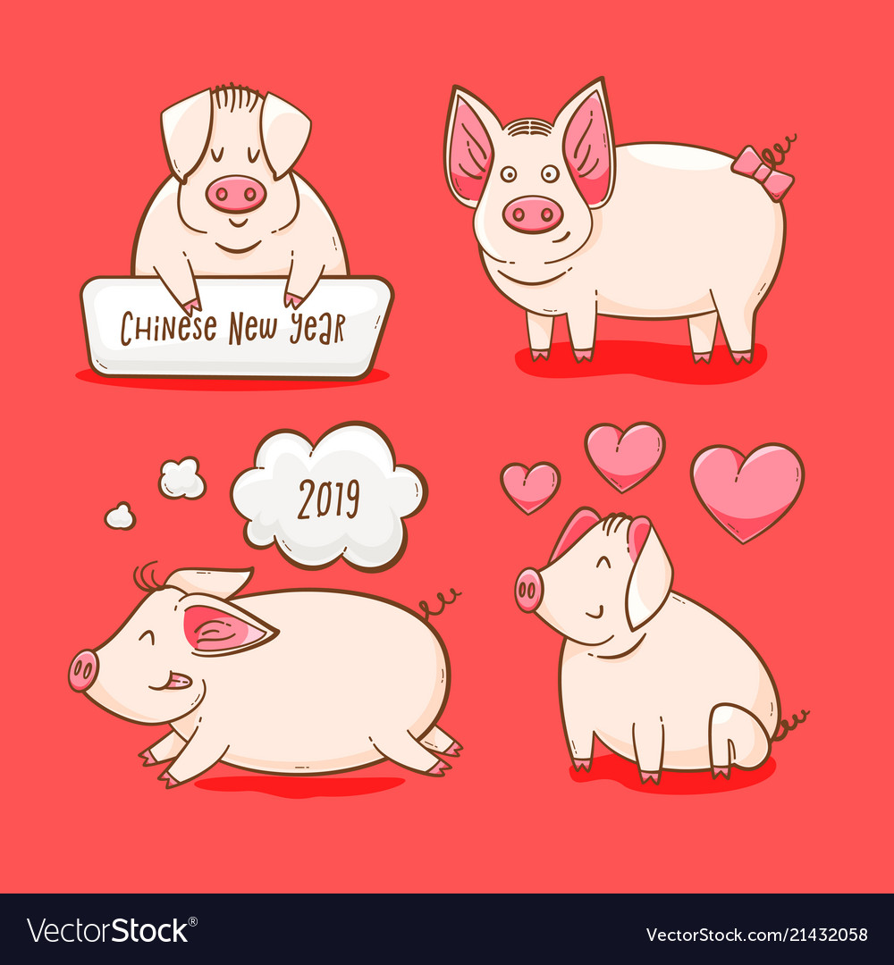 Pig Chinese New Year Symbol Of 2019 Royalty Free Vector