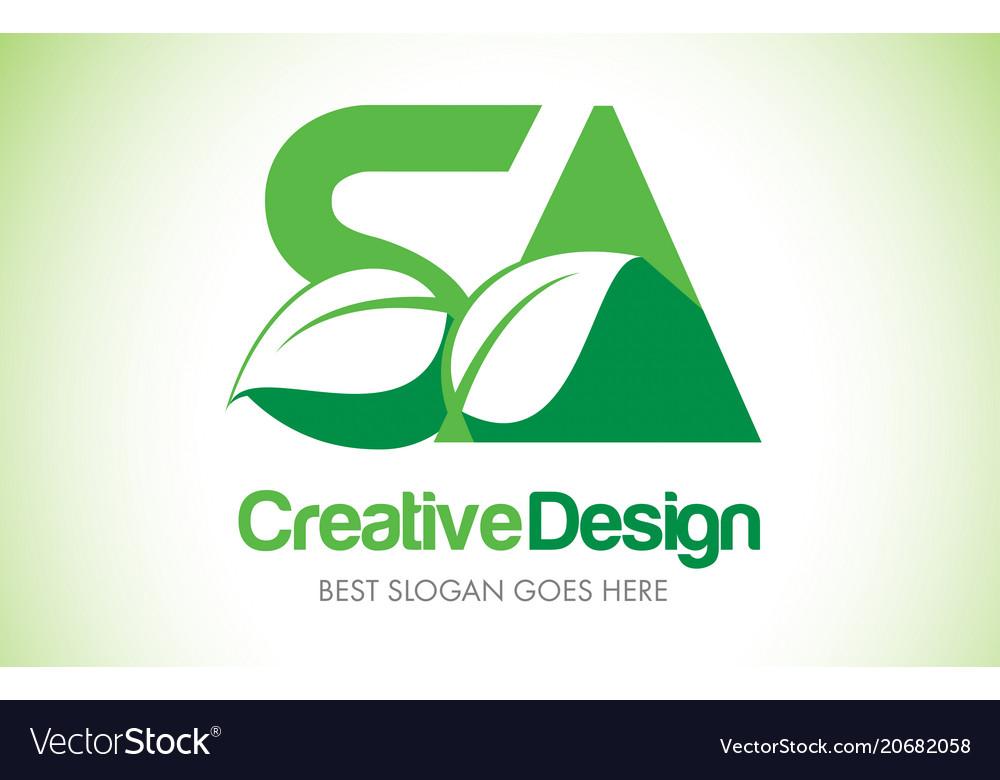 Sa green leaf letter design logo eco bio leaf vector image