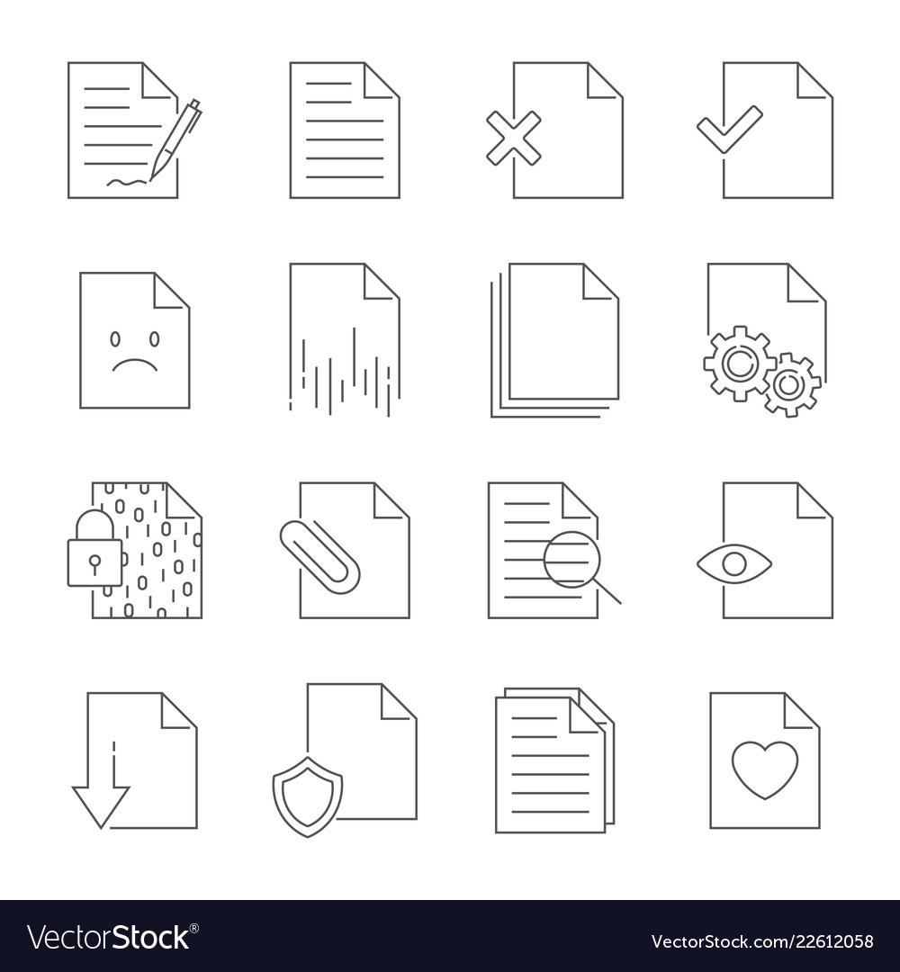 Set of document flow management line icons