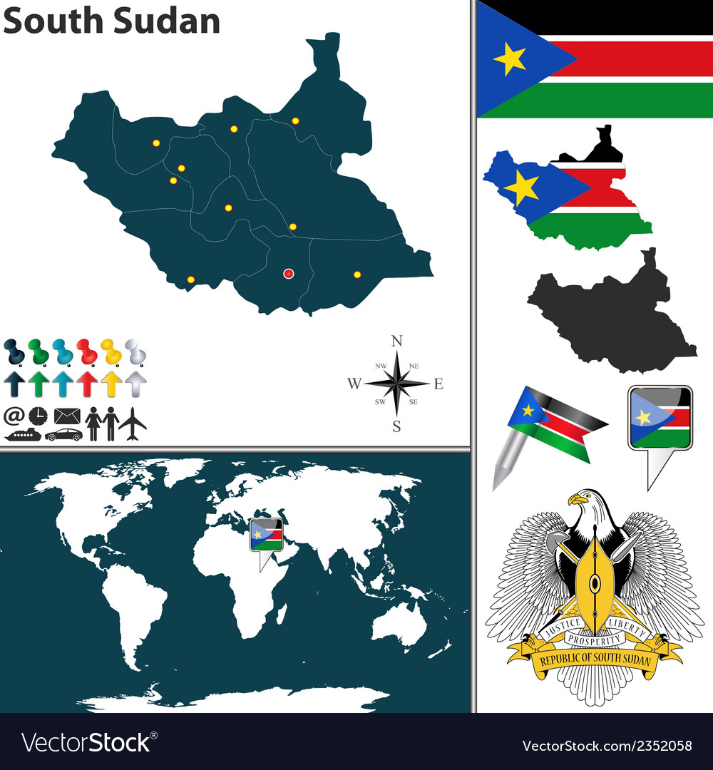 South sudan map world royalty free vector image south sudan map world vector image freerunsca Image collections