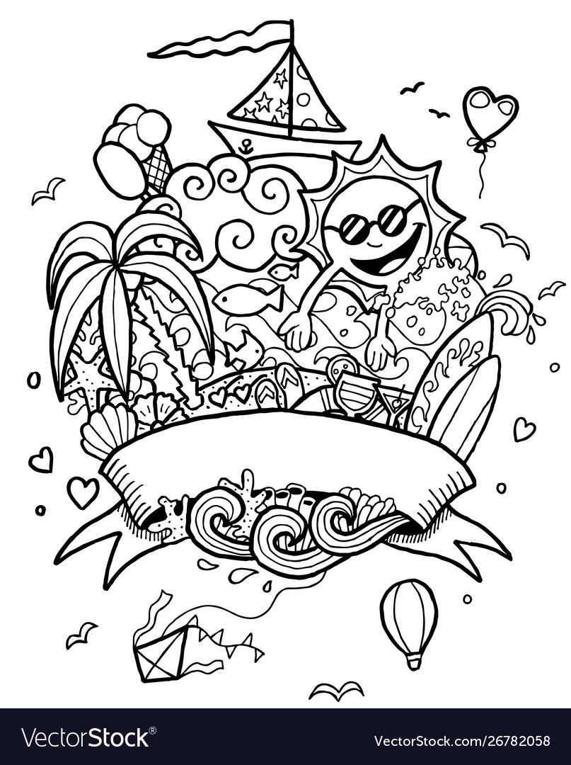 Summer doodle line art