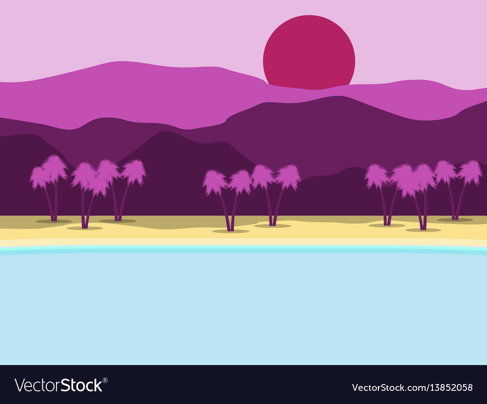Tropical landscape coast with palm trees vector image