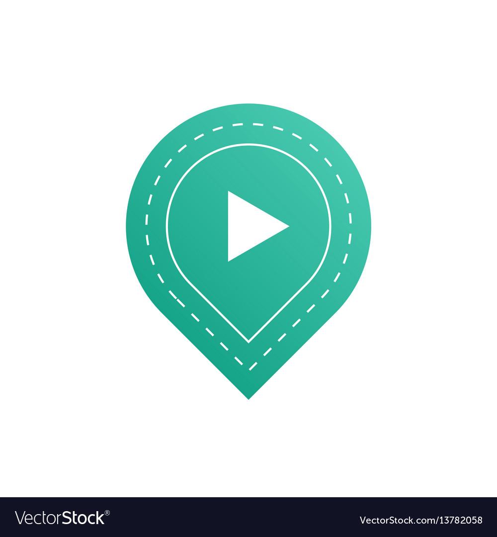 Ui interface blue button play media internet