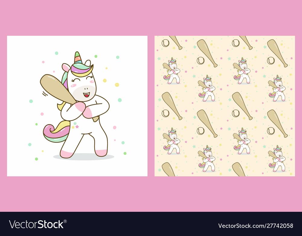 Unicorn hold stick baseball with pattern