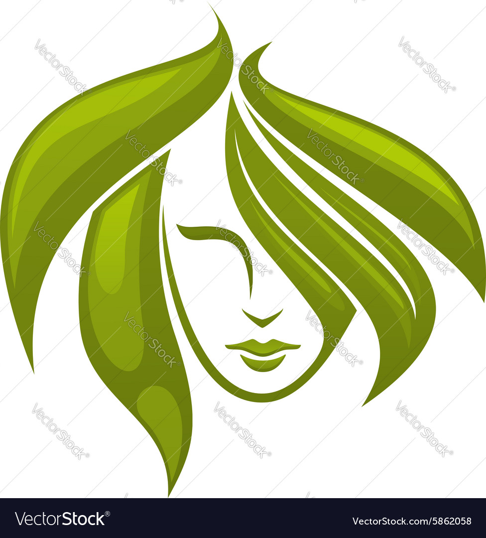 Woman with swirling green hair - icon