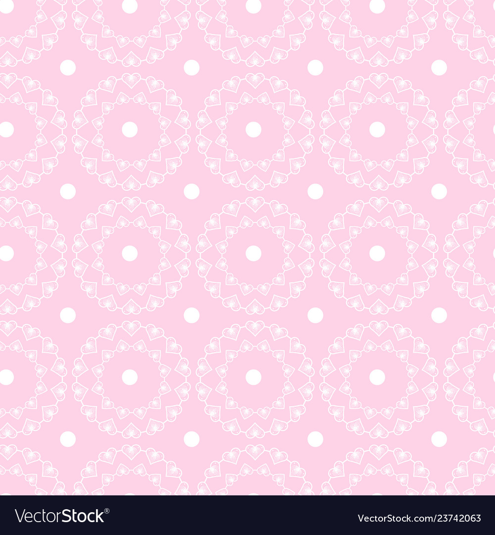 Abstract geometric pattern of circles with hearts