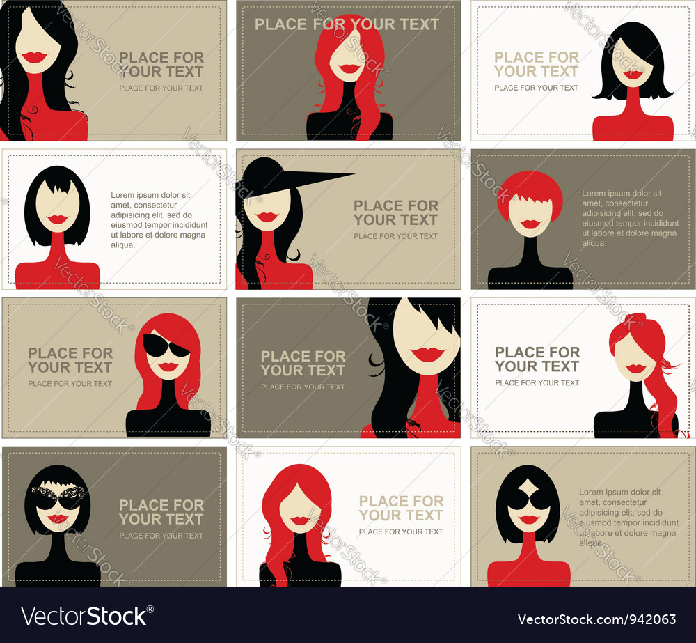 Business cards with woman faces for your design