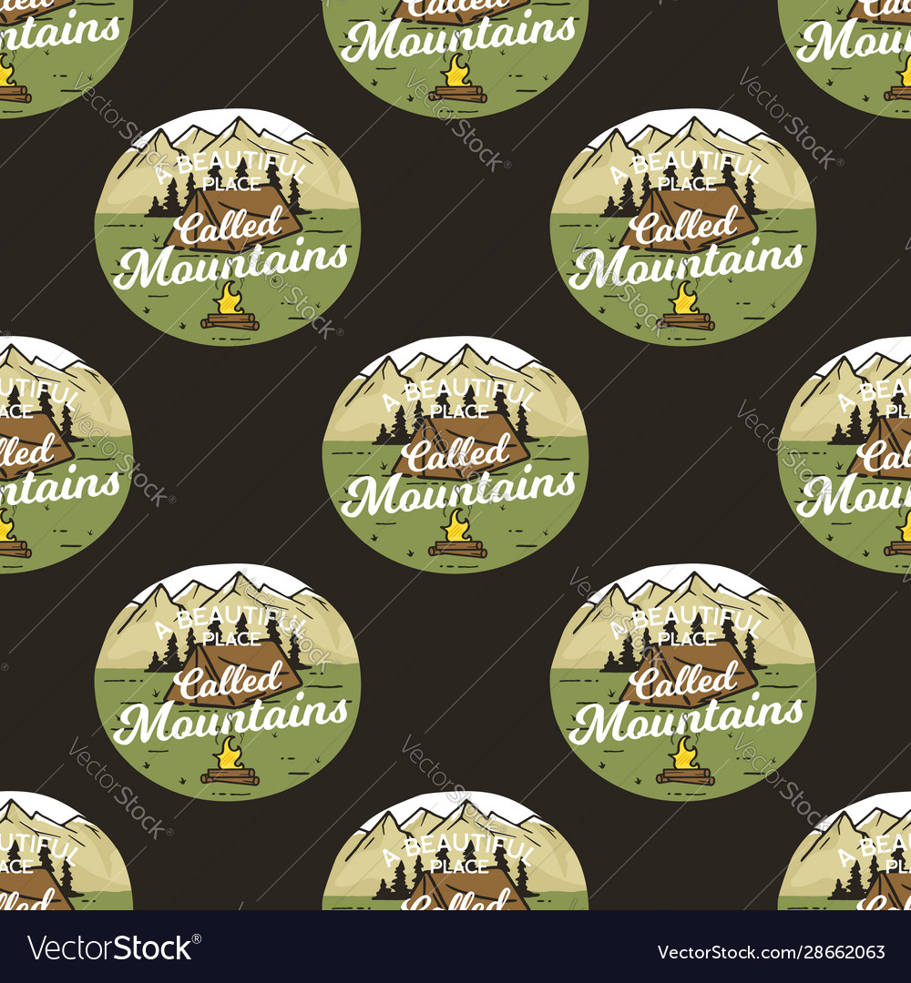 Camping seamless pattern with adventure badges