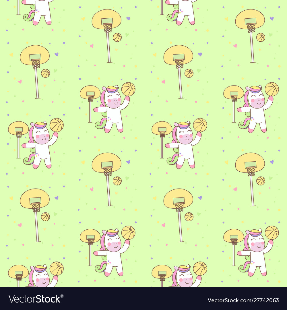 Cute pegasus playing basketball seamless pattern
