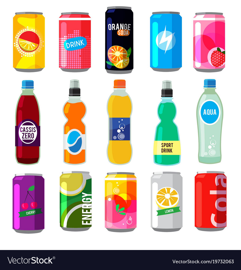 Fizzy drinks in glass bottles colored