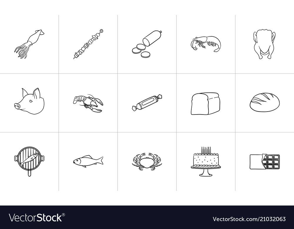 Food hand drawn sketch icon set