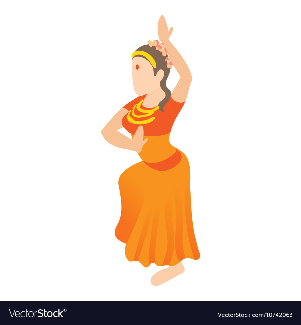 Indian girl dancing icon cartoon style