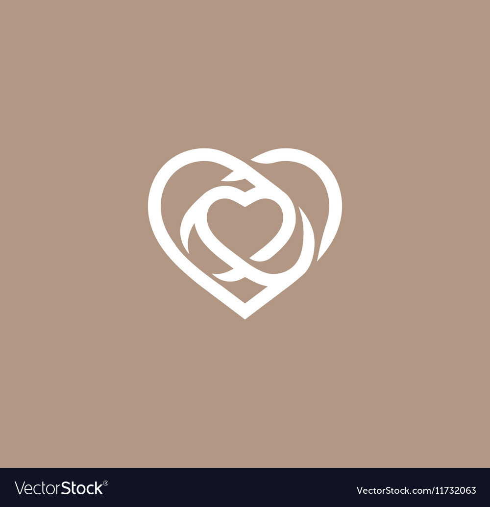 Isolated white abstract monoline heart logo Love