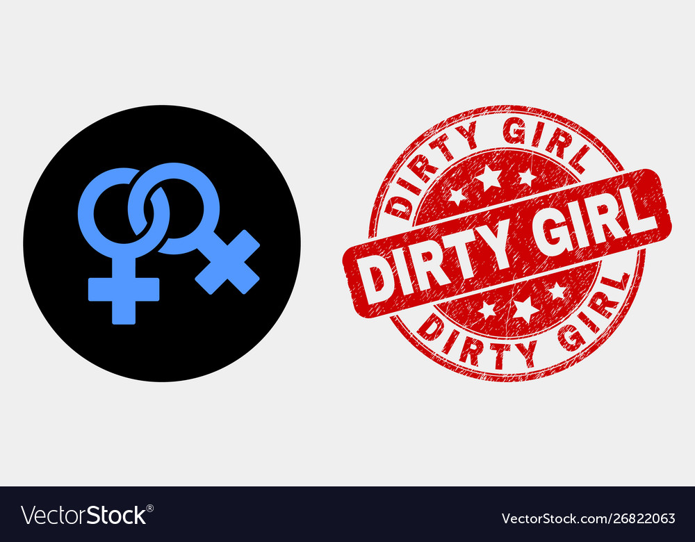 Lesbian symbol icon and distress dirty girl vector image
