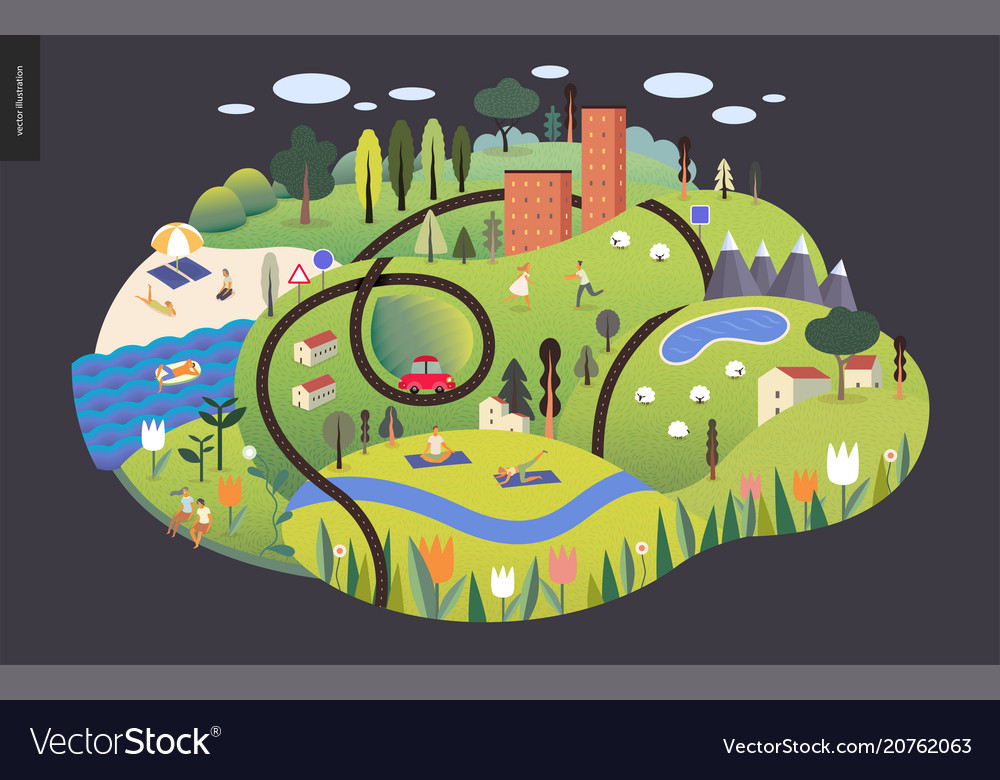Magical summer landscape vector image