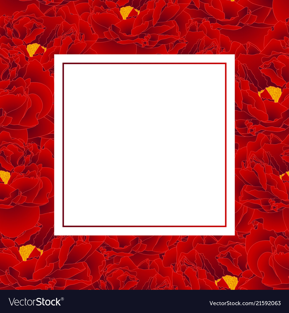 Red peony banner card
