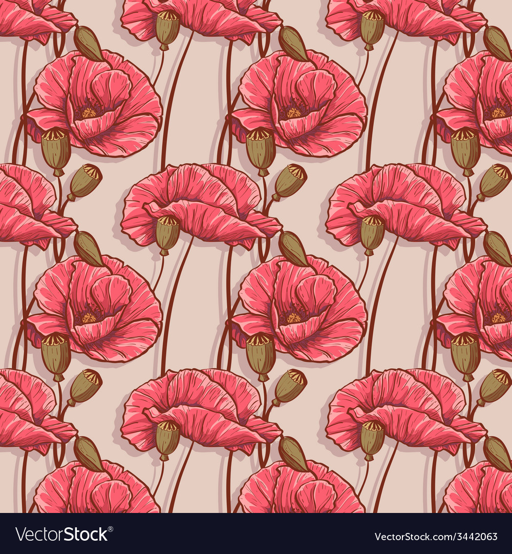 Seamless background with flowers poppies