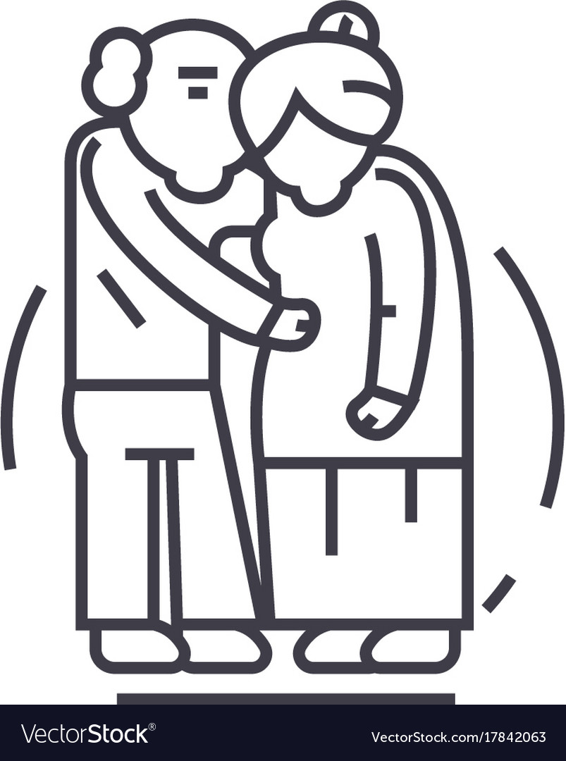 Senior coupleold people line icon sign vector image