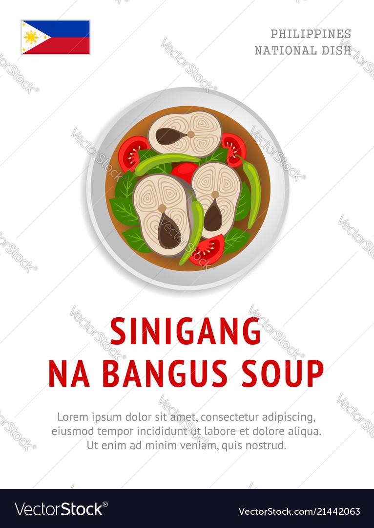 Sinigang Na Bangus Soup National Filipino Dish Vector Image
