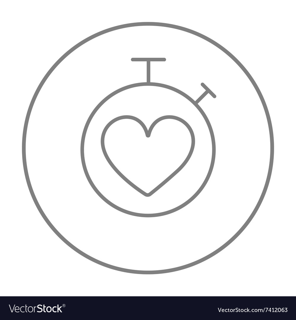 Stopwatch with heart sign line icon
