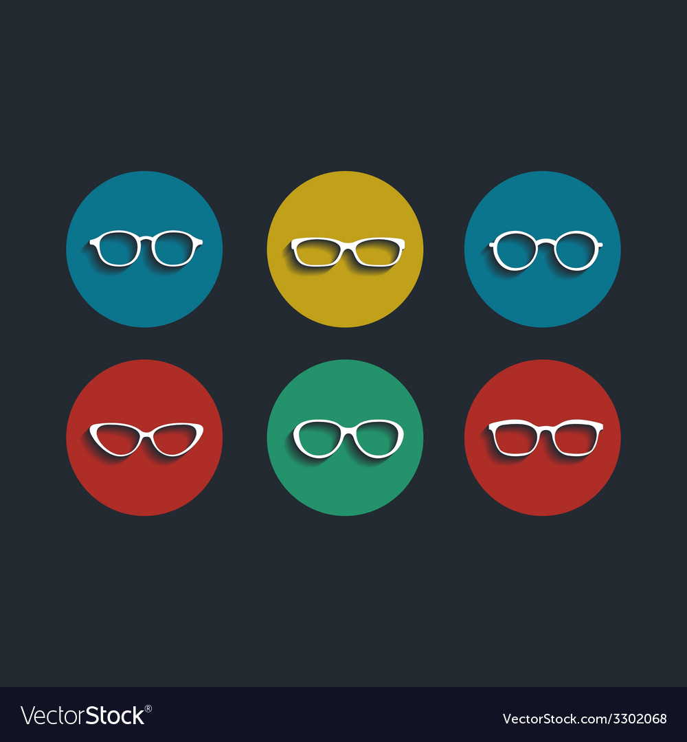 Black glasses icons set on white background