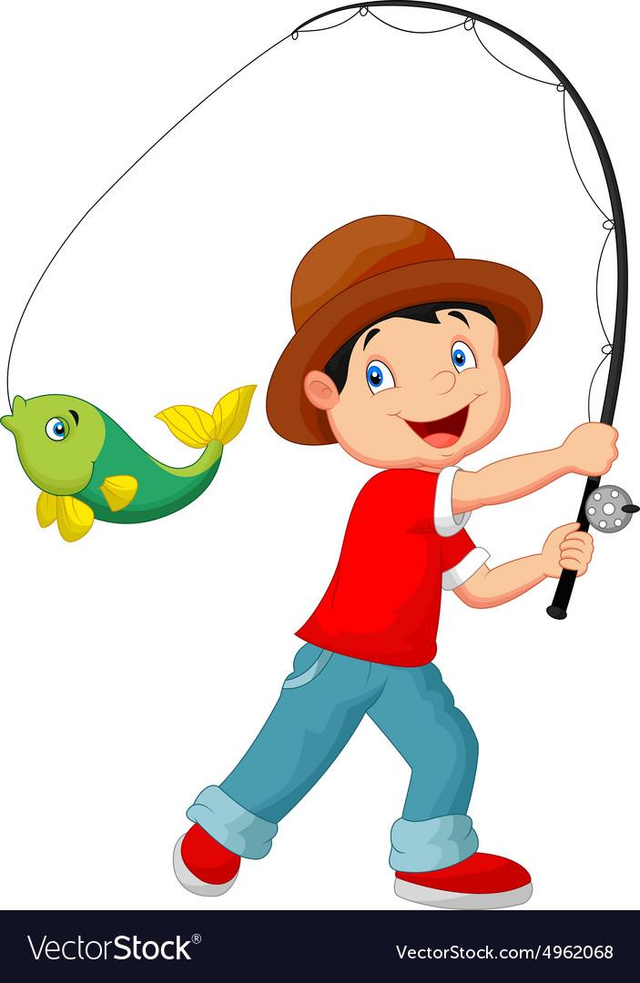 Cartoon Boy Fishing Royalty Free Vector Image Vectorstock