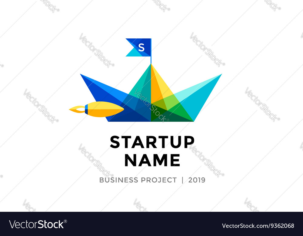 Design Template Of Colorful Paper Boat With Vector Image