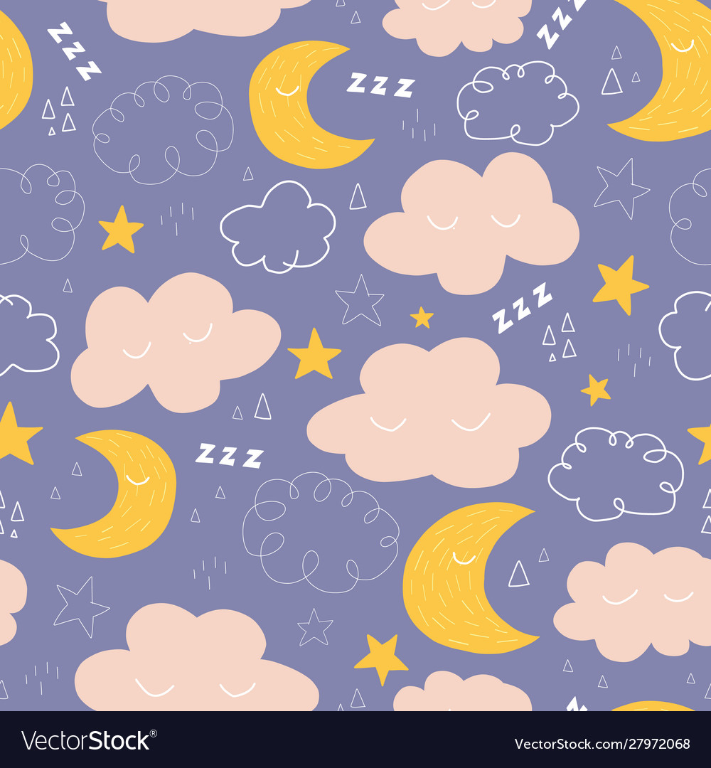 Moon stars and clouds seamless pattern