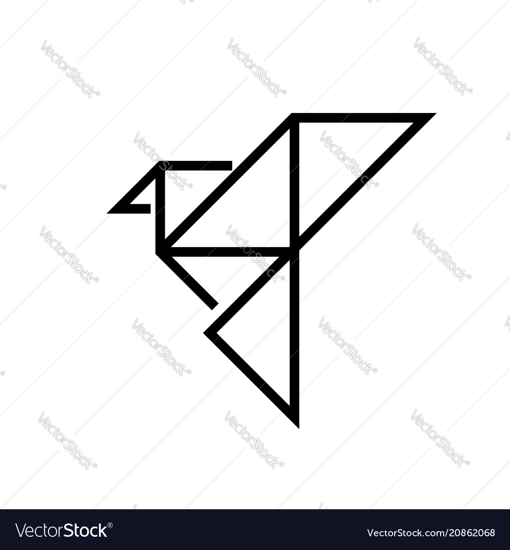Origami bird - line design single isolated icon
