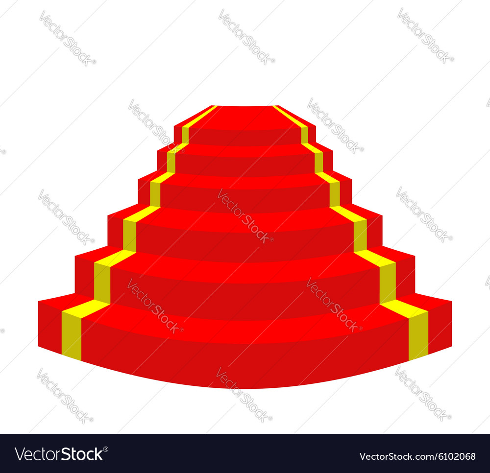 Red carpet on a white background Stairs for VIP