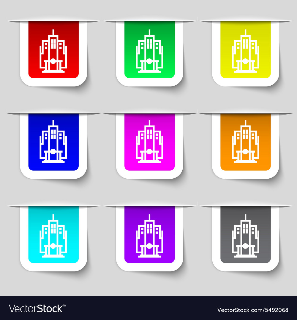 Skyscraper icon sign Set of multicolored modern