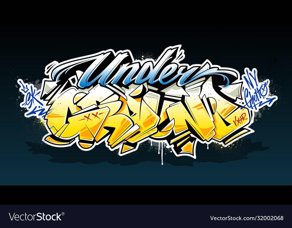 Underground graffiti lettering art