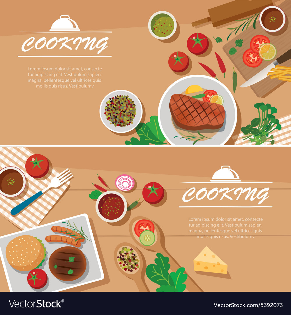 Cooking Banner Flat Design Template Royalty Free Vector