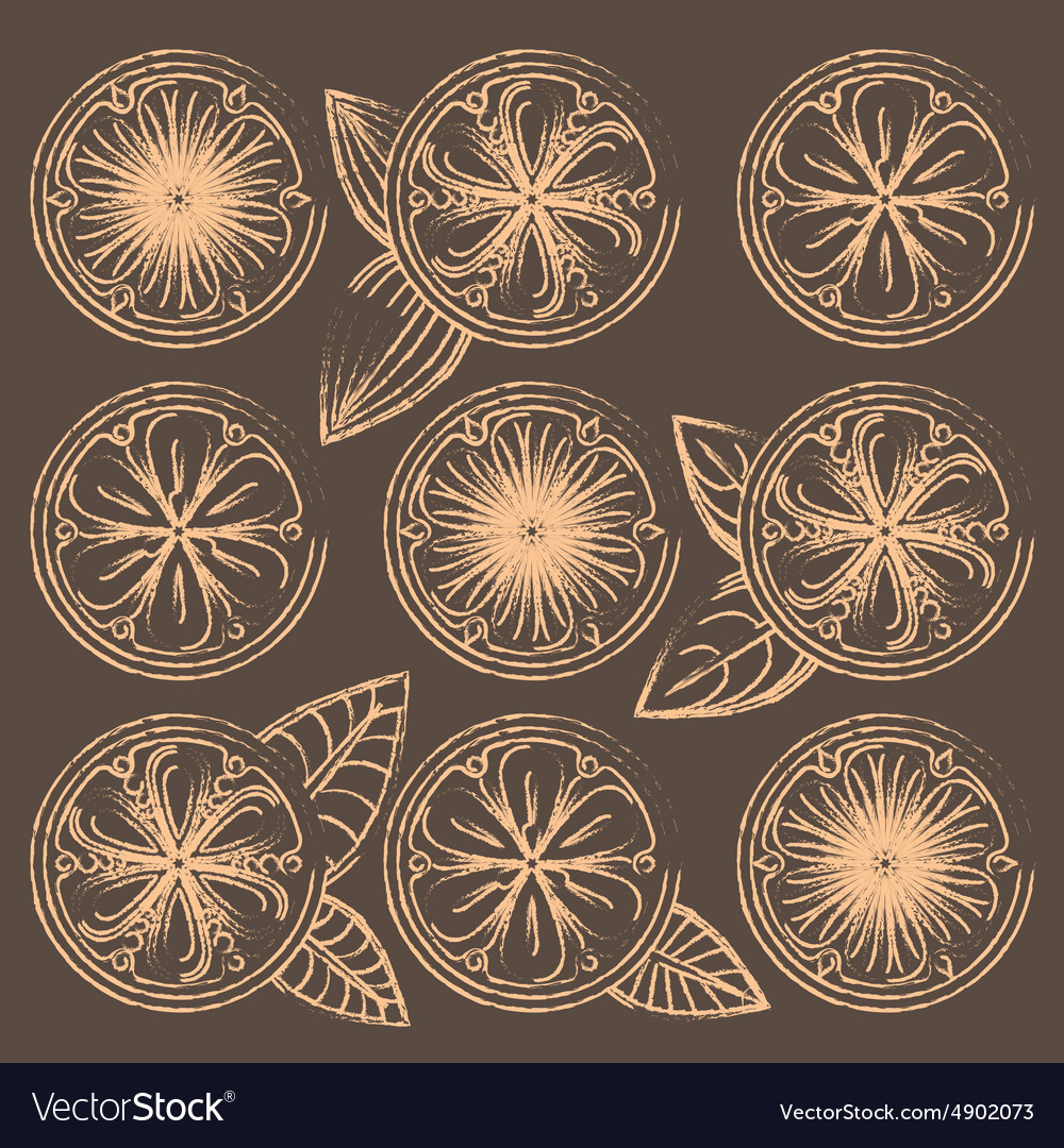 Decorative oranges lemons and limes in vintage vector image