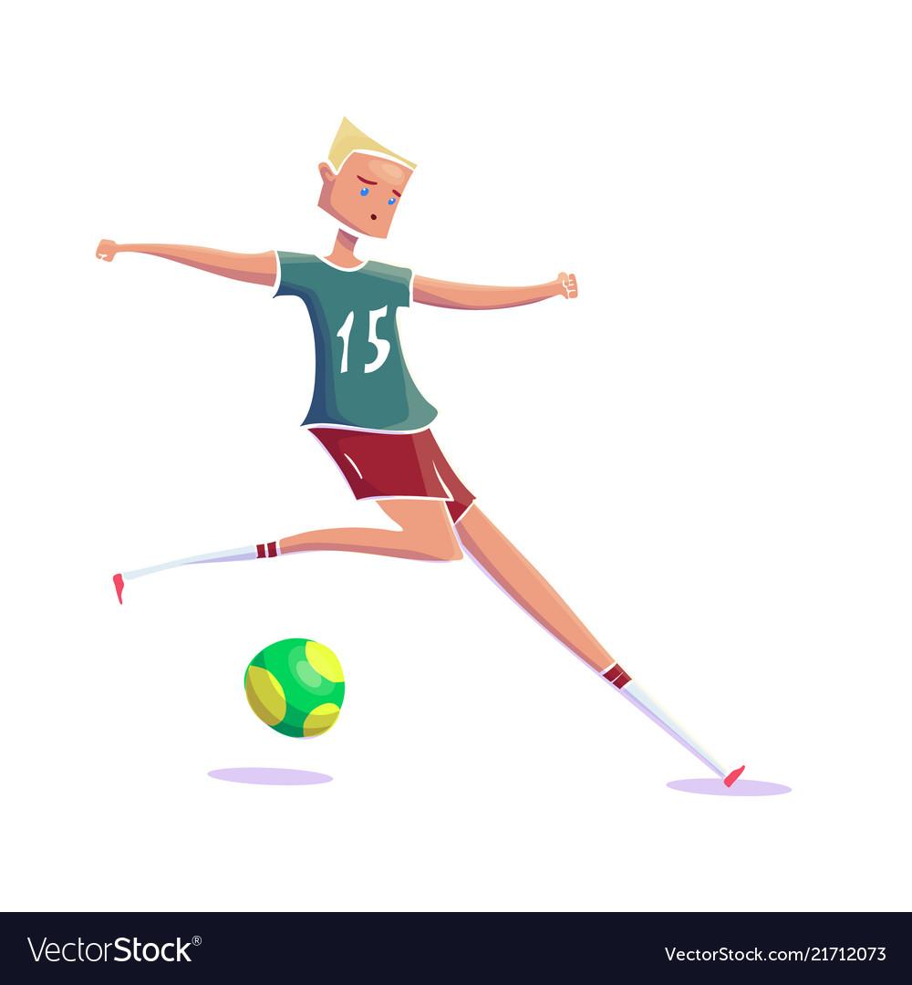 Hand drawn cartoon running soccer player with ball